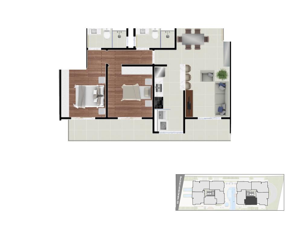 Apto 3 - 74, 57 m² torre 2