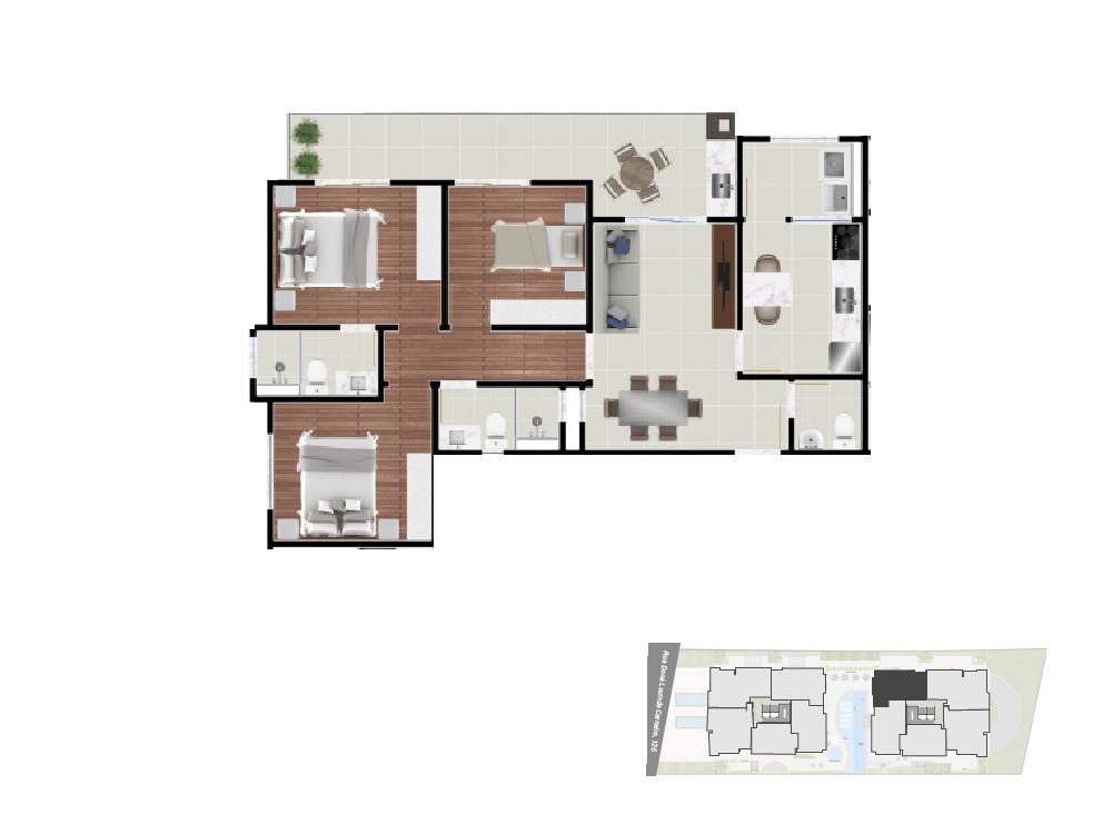 Apto 5- 90,71 m² torre2