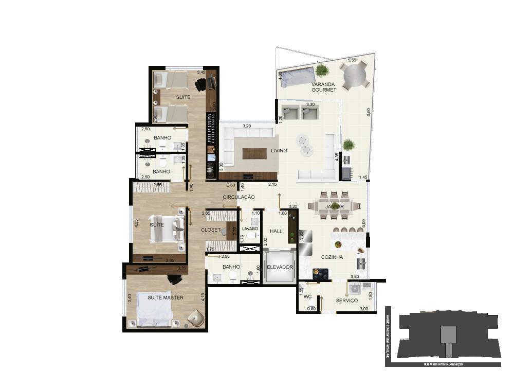 Pespectiva da tipologia - 156 m²