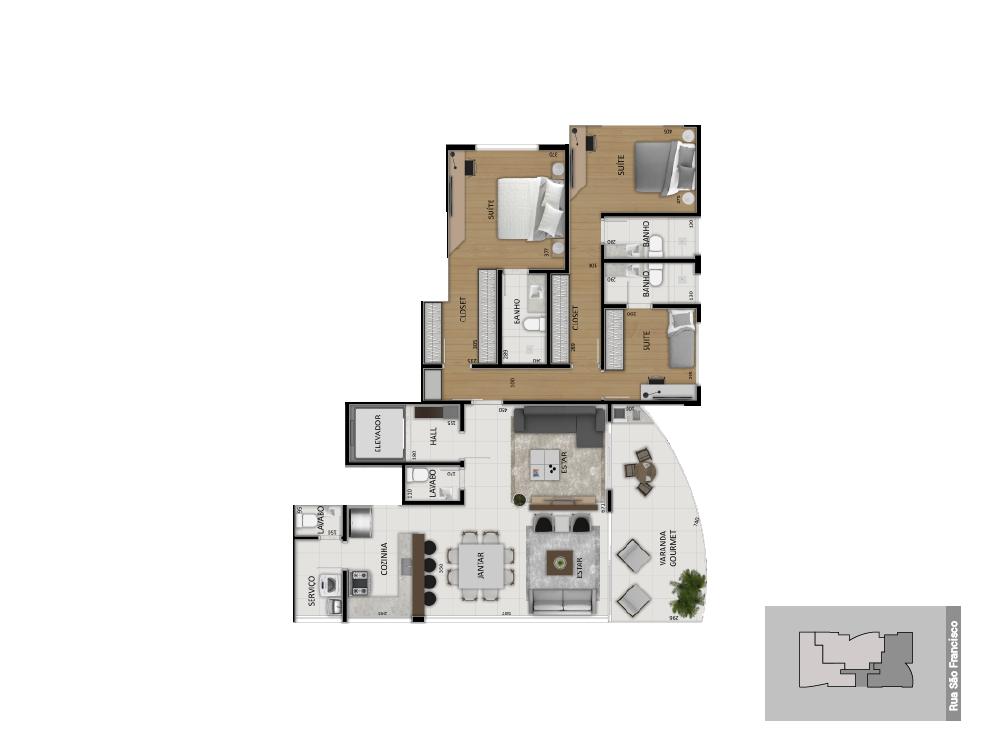 Planta tipo 1 - 150 m²