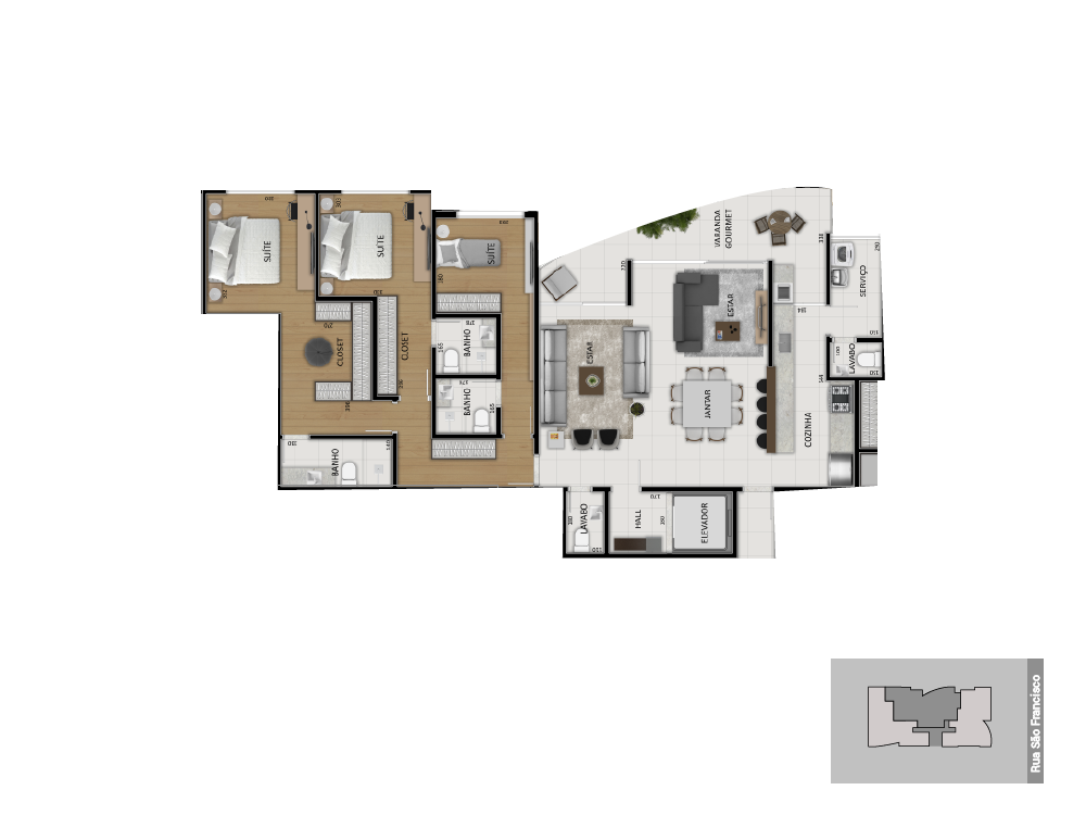 Planta tipo 2 - 160 m²